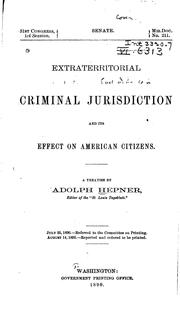 Cover of: Extraterritorial Criminal Jurisdiction and Its Effect on American Citizens
