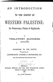 Cover of: An Introduction to the Survey of Western Palestine: Its Waterways, Plains ...