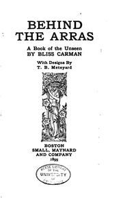 Cover of: Behind the Arras: A Book of the Unseen