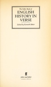 Cover of: The Faber book of English history in verse