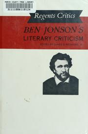 Cover of: Ben Jonson's literary criticism