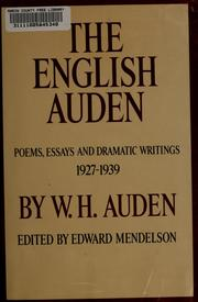 Cover of: The English Auden