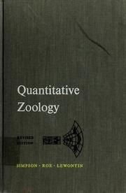 Cover of: Quantitative zoology