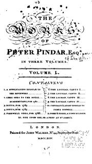 Cover of: The works of Peter Pindar
