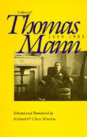 Cover of: Letters of Thomas Mann, 1889-1955
