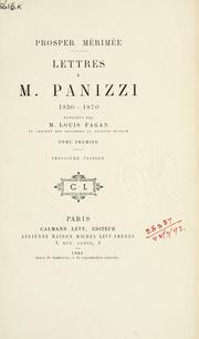 Cover of: Lettres à m. Panizzi, 1850-1870