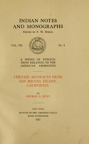 Cover of: Certain artifacts from San Miguel Island, California