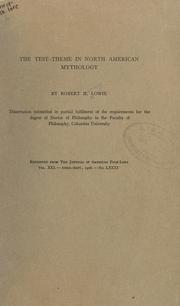 Cover of: The test-theme in North American mythology