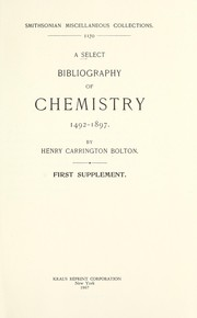 Cover of: A select bibliography of chemistry, 1492-1897