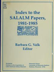 Cover of: Index to the SALALM papers, 1981-1985