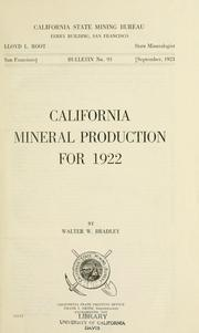 Cover of: California mineral production for 1922