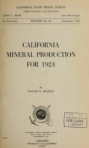 Cover of: California mineral production for 1924