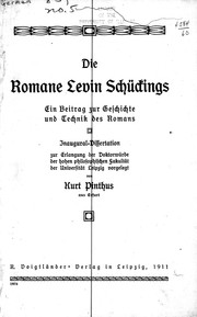 Cover of: Die Romane Levin Schückings