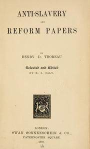 Cover of: Anti-slavery and reform papers