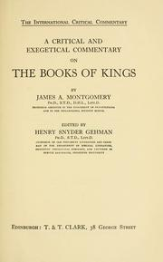 Cover of: A critical and exegetical commentary on the Books of Kings