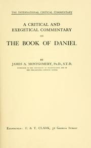 Cover of: A critical and exegetical commentary on the book of Daniel