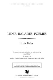 Cover of: Lider, balades, poemes