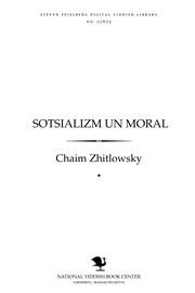 Cover of: Sotsializm un moral