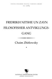 Cover of: Fridrikh Nitshe un zayn filosofisher anṭṿiḳlungs-gang