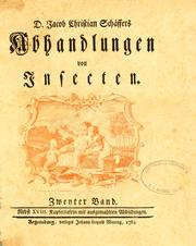 Cover of: D. Jacob Christian Schäffers Abhandlungen von Insecten