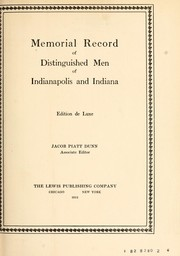 Cover of: Memorial record of distinguished men of Indianapolis and Indiana
