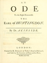 Cover of: An ode to the Right Honourable the Earl of Huntingdon