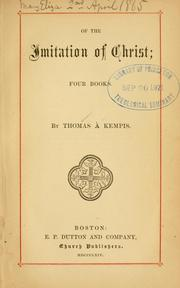 Cover of: Of the imitation of Christ