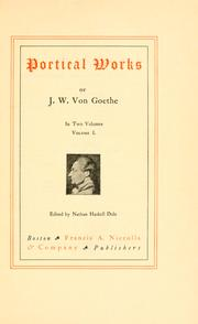 Cover of: Poetical works of J.W. von Goethe