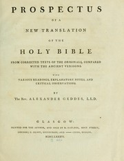 Cover of: Prospectus of a new translation of the Holy Bible