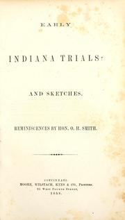Cover of: Early Indiana trials and sketches