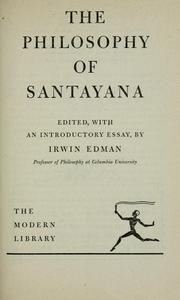 Cover of: The philosophy of Santayana