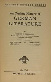 Cover of: History of German literature