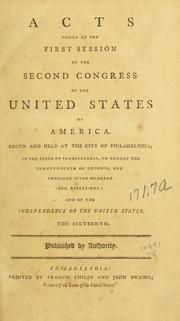 Cover of: Acts passed at the first session of the Second Congress of the United States of America