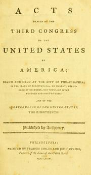 Cover of: Acts passed at the Third Congress of the United States of America