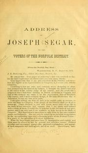 Cover of: Address of Joseph Segar, to the voters of the Norfolk district. (From the Norfolk Day book.)