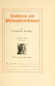 Cover of: Aesthetical and philosophical essays