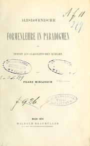 Cover of: Altslovenische Formenlehre in Paradigmen