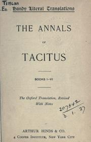 Cover of: Annals, Books I-VI: the Oxford translation, revised with notes.