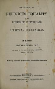Cover of: The bearing of religious equality on the rights of individuals and spiritual communities