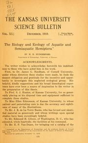 Cover of: The biology and ecology of aquatic and semi-aquatic Hemiptera