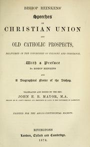 Cover of: Bishop Reinkens' speeches on Christian union and Old Catholic prospects