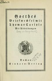 Cover of: Briefwechsel mit Thomas Carlyle