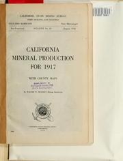 Cover of: California mineral production for 1917, with county maps