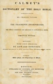 Cover of: Calmet's Dictionary of the Holy Bible