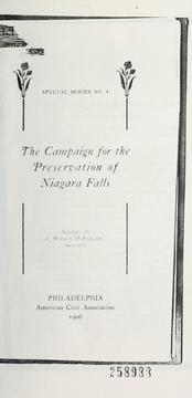 Cover of: The campaign for the preservation of Niagara Falls
