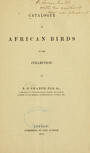 Cover of: Catalogue of African birds in the collection of R.B. Sharpe
