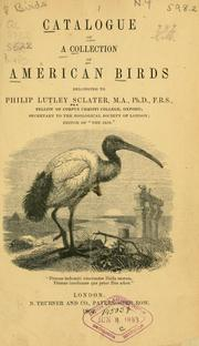 Cover of: Catalogue of a collection of American birds