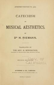 Cover of: Catechism of musical aesthetics