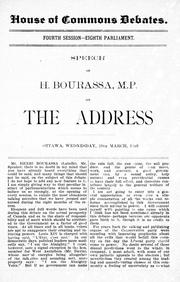 Cover of: Speech of H. Bourassa, M.P. on the address