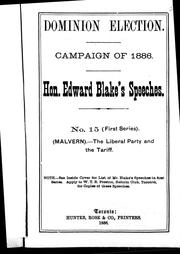 Cover of: The Liberal party and the tariff (Malvern)